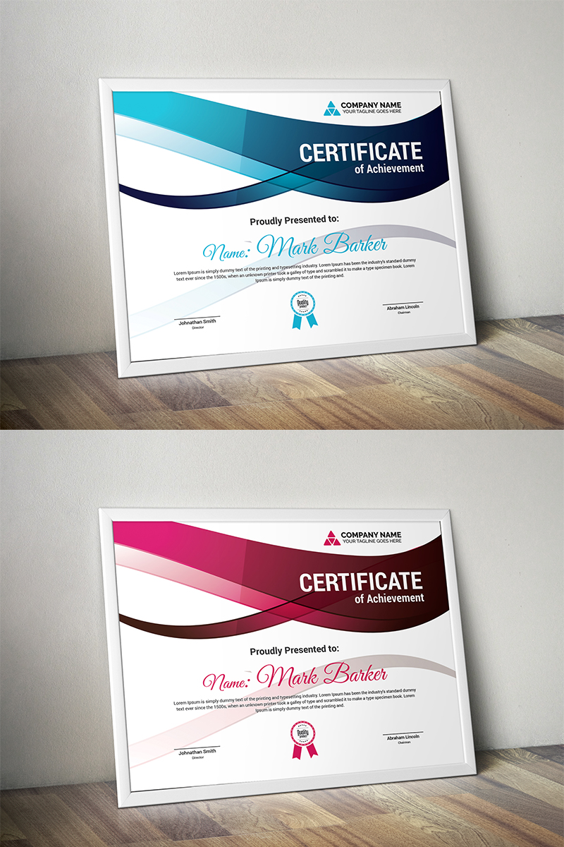 """Plantilla De Certificado """"Wavy Modern"""" #100137"""