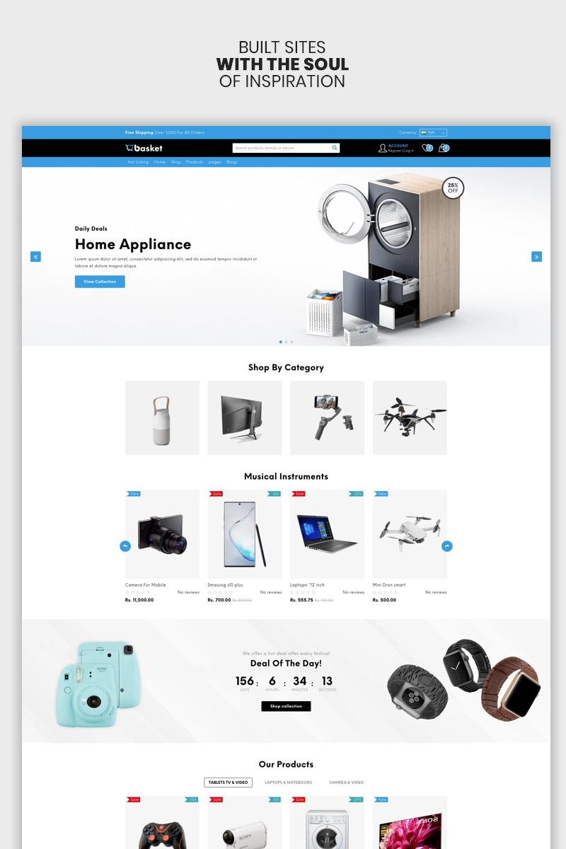 "Template Shopify Responsive #100144 ""Basket - The Electronics & Supermarket Premium"""