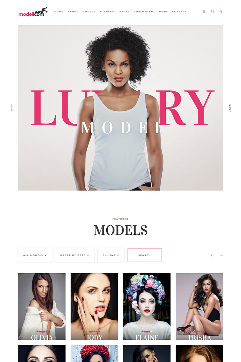 "WordPress Theme namens ""Modelicom Model Agency & Portfolio"" #100146"