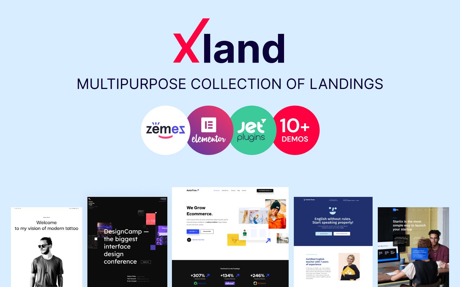 """XLand - Multipurpose Collection of Landing Pages"" - адаптивний WordPress шаблон №100142"