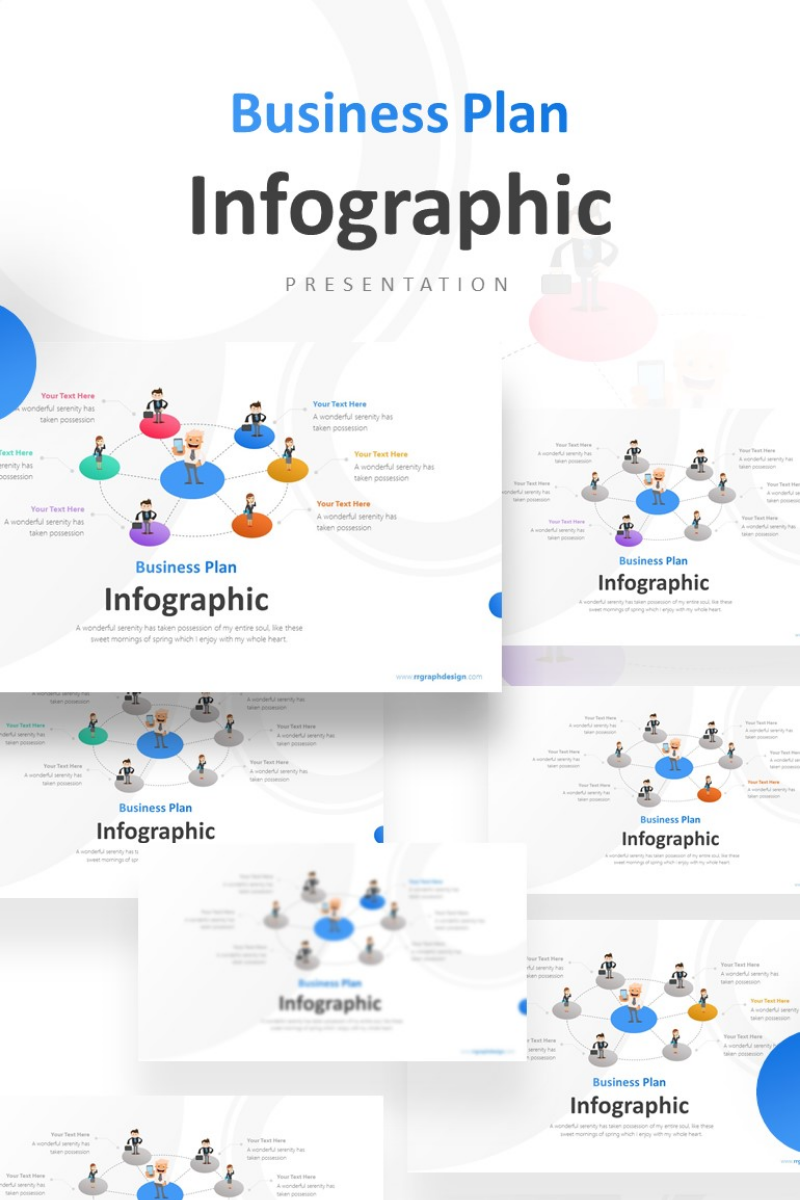 Businessman Holding Smartphone Infographic Presentation PowerPoint Template