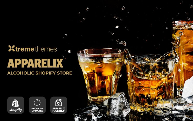 """""""Apparelix Alcohol Online Store Template"""" 响应式Shopify模板 #100372"""