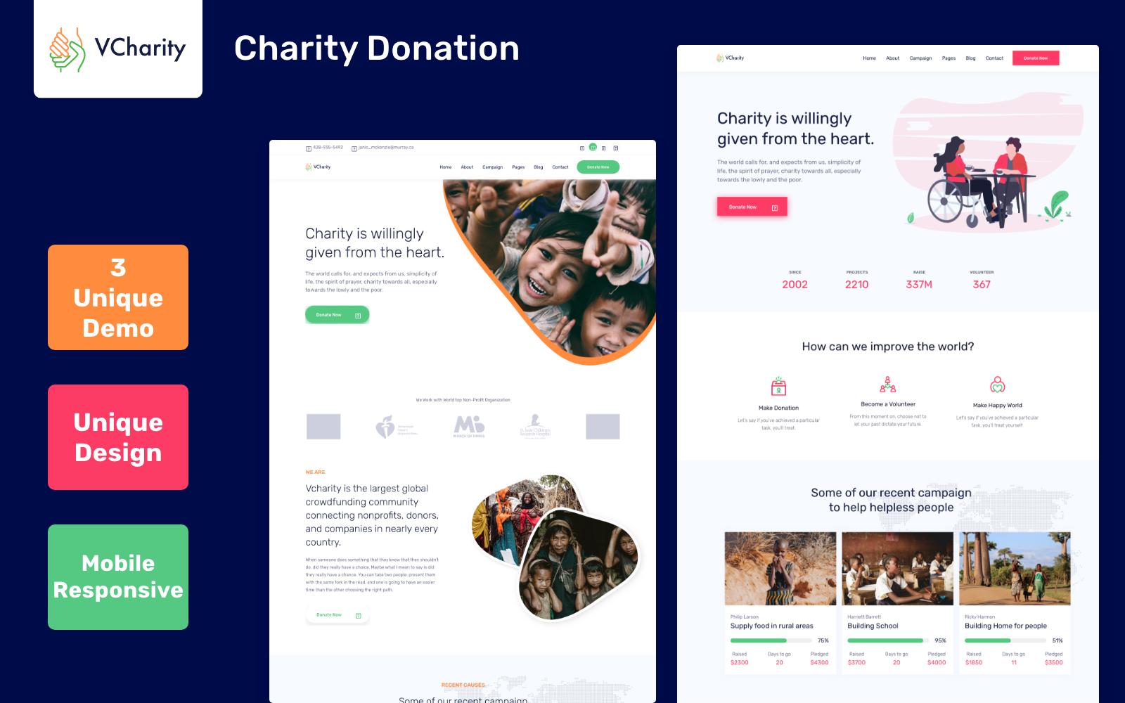 Bootstrap vCharity - Charity and Donation Weboldal sablon 100355