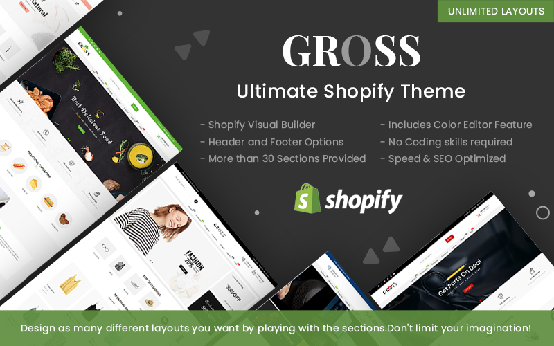 """Gross - Multipurpose"" Responsive Shopify Thema №100359"