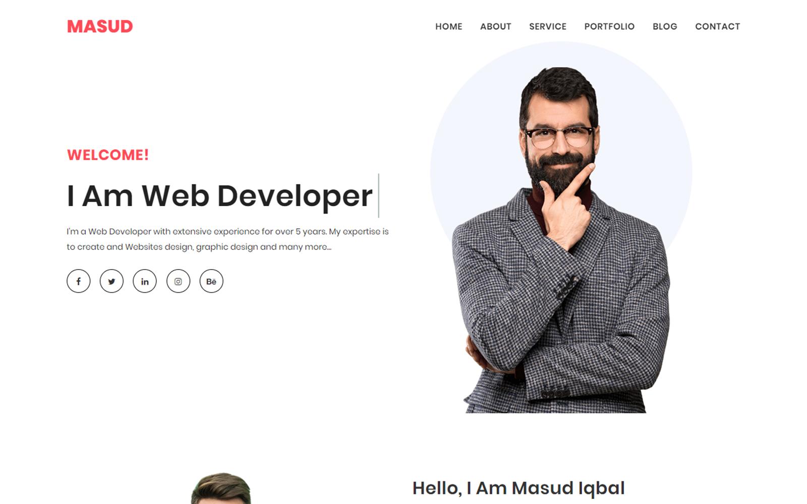 "Landing Page Template namens ""Masud Personal Portfolio"" #100362"