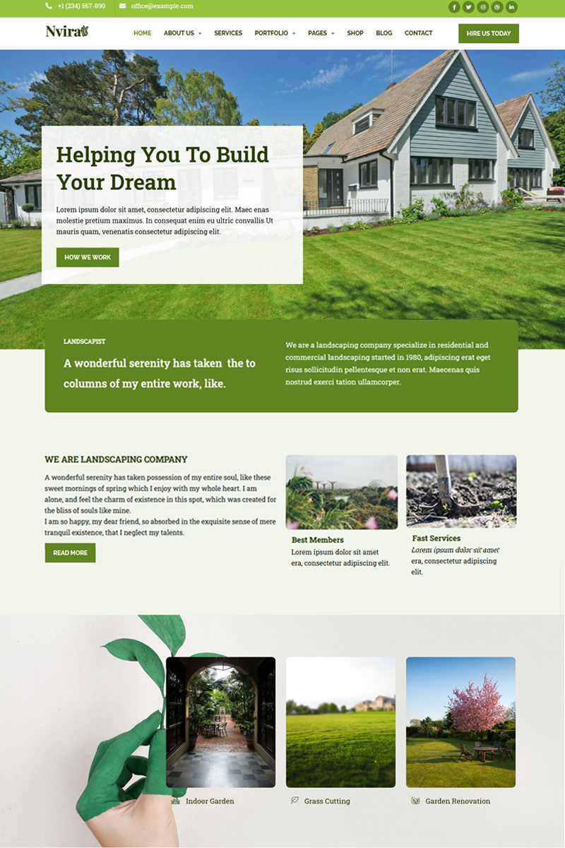 Nvira - Gardening and Landscaping Services with Elementor WordPress Theme