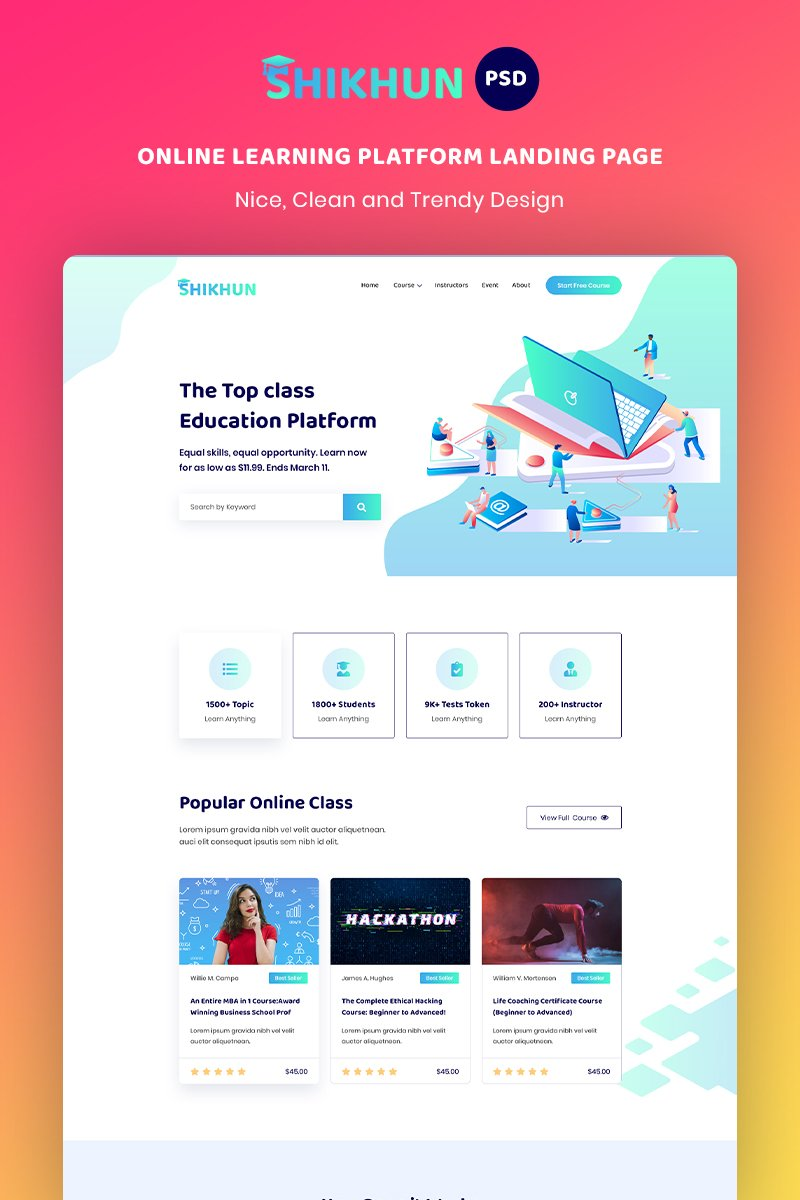 Online Learning Platform Landing Page PSD Template
