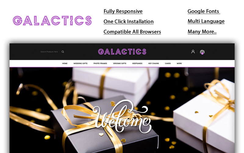 "OpenCart Vorlage namens ""Galactics - Gift Store"" #100358"