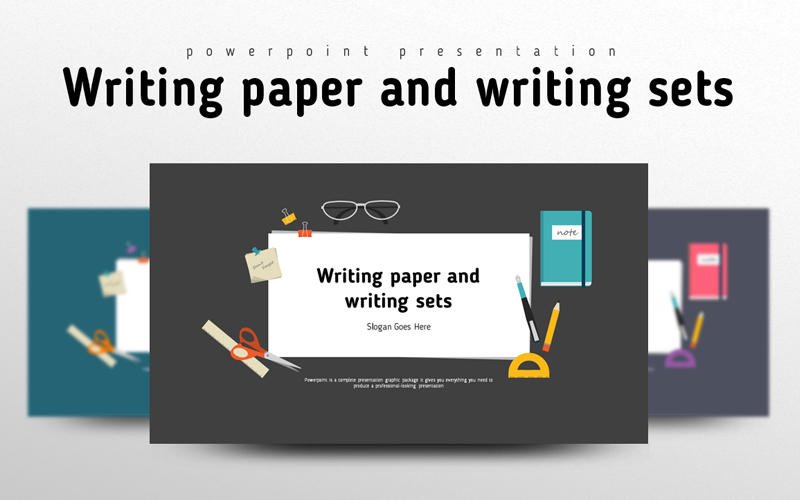 "PowerPoint Vorlage namens ""Writing paper and Writing Sets"" #100386"