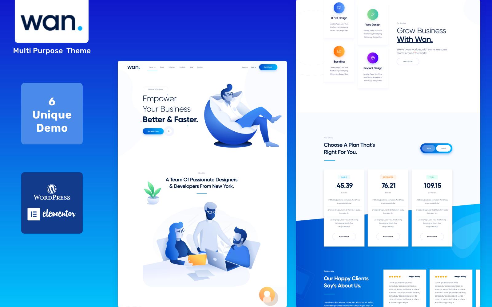 Bootstrap Wan - IT Software Service & Agency WordPress sablon 100554