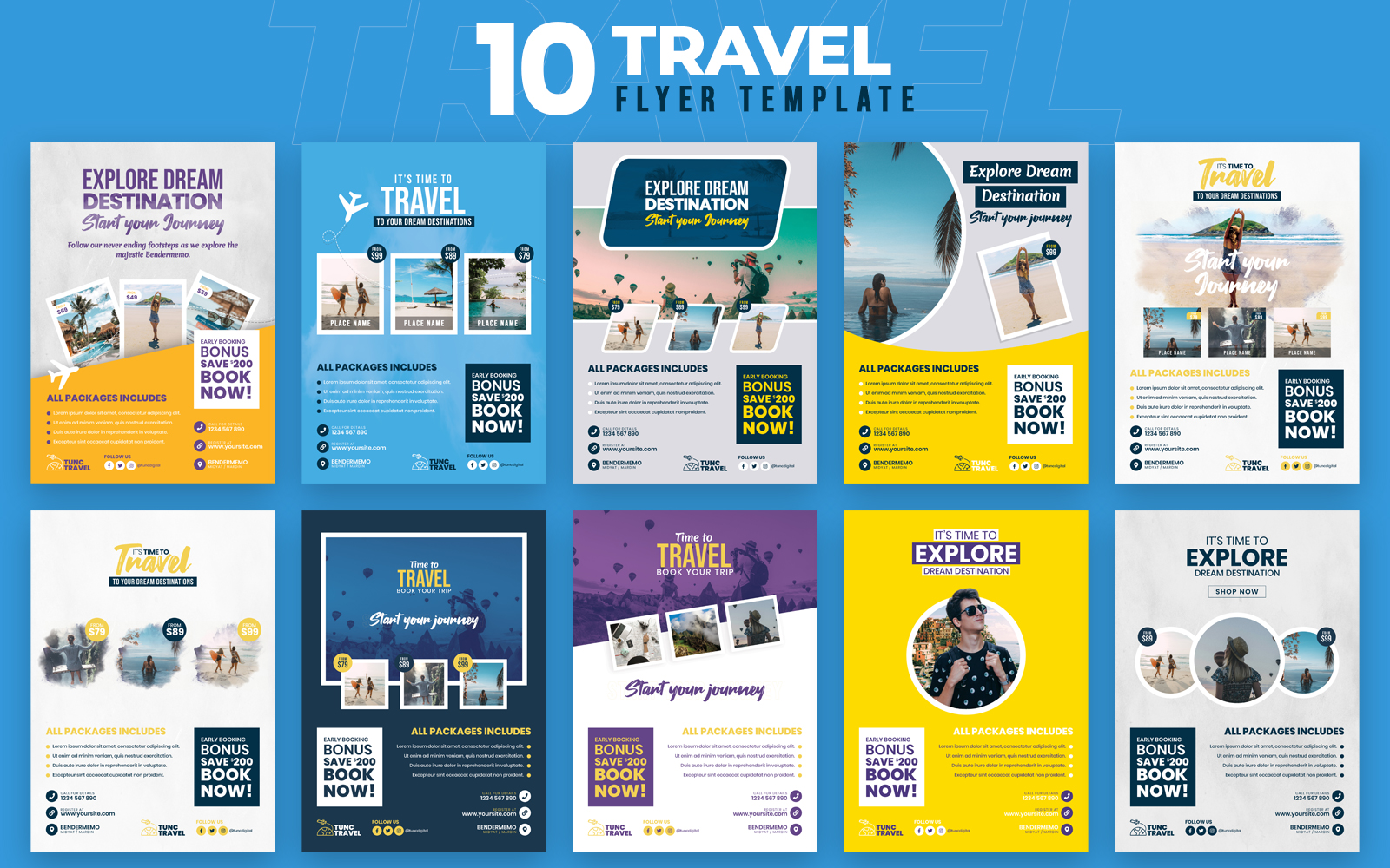 "Bundle namens ""Travel 10 Flyer Template"" #100548"