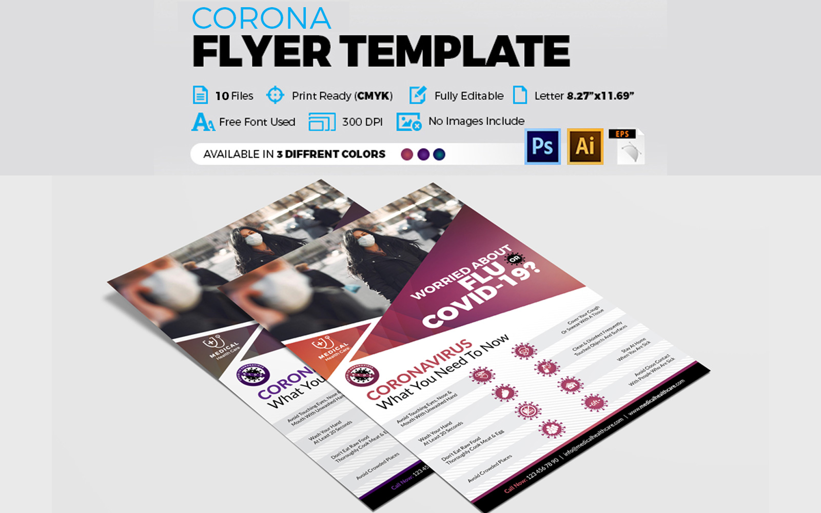 Coronavirus Flyer & Covid 19 Flyer Corporate Identity Template