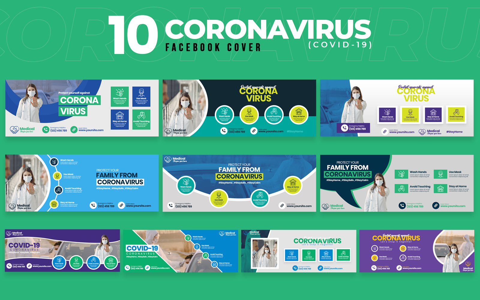 Covid-19 & Coronavirus 10 Facebook Cover Social Media
