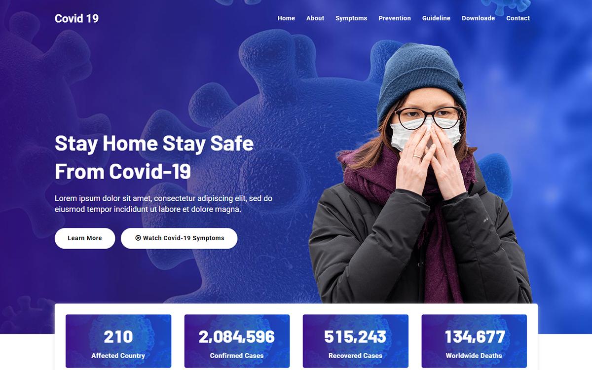 """Covid 19 - Corona Virus Medical"" 响应式着陆页模板 #100556"