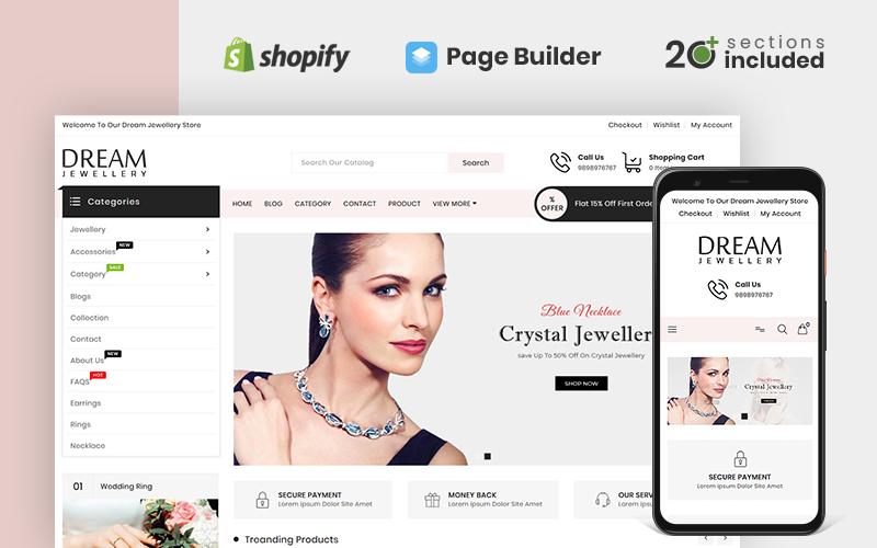 """Dream Jewellery Store"" - адаптивний Shopify шаблон №100521"