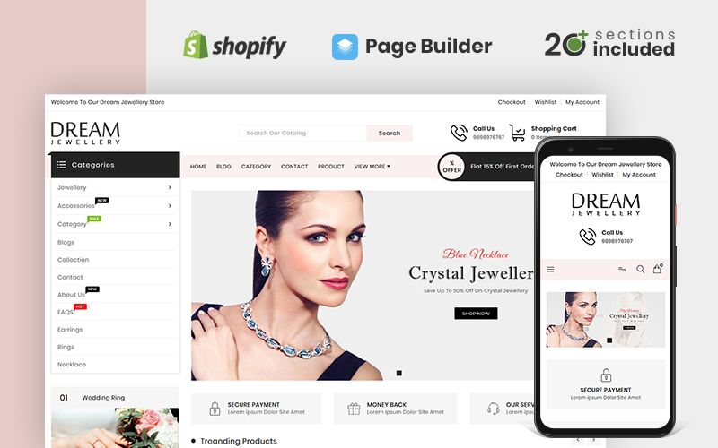 """Dream Jewellery Store"" Responsive Shopify Thema №100521"