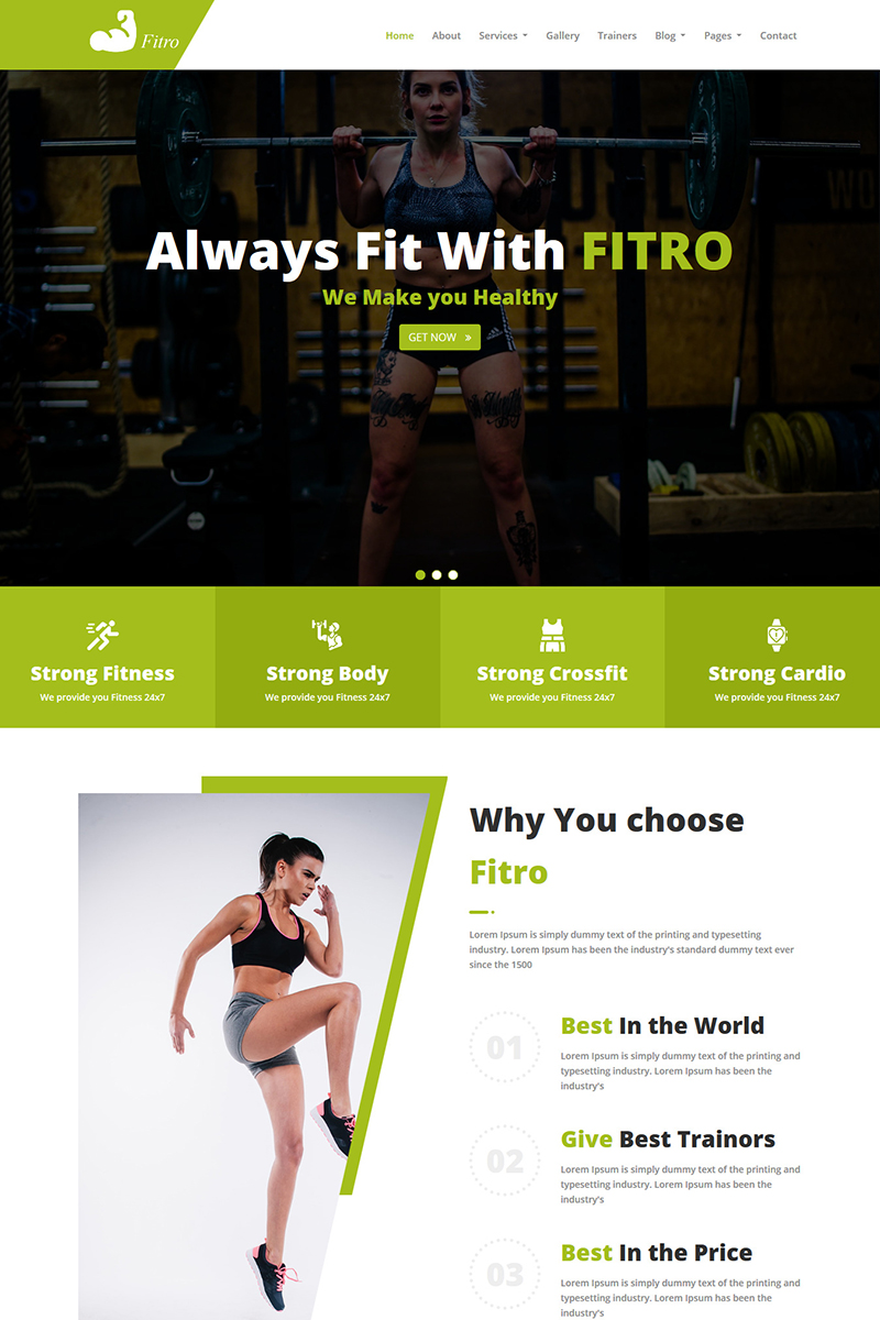 Fitro - Fitness HTML5 Weboldal sablon 100561