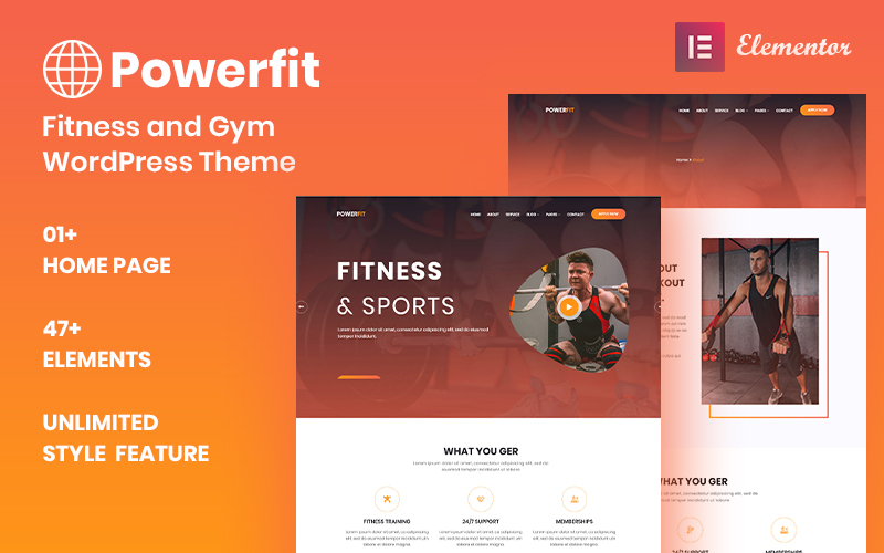 """Powerfit - Fitness and Gym"" thème WordPress adaptatif #100525"