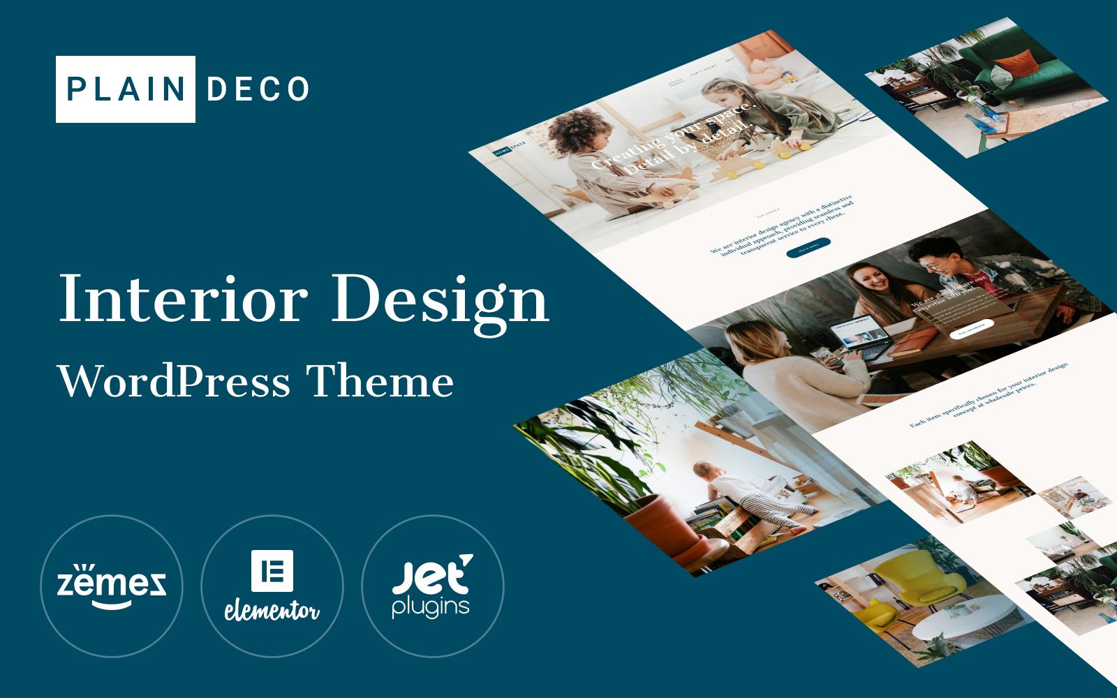 "Responzivní WordPress motiv ""PlainDeco - Interior Design"" #100529"
