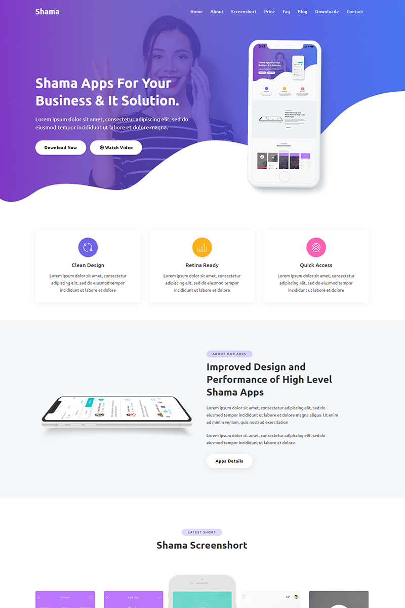 Shama - App HTML Landing Page Template