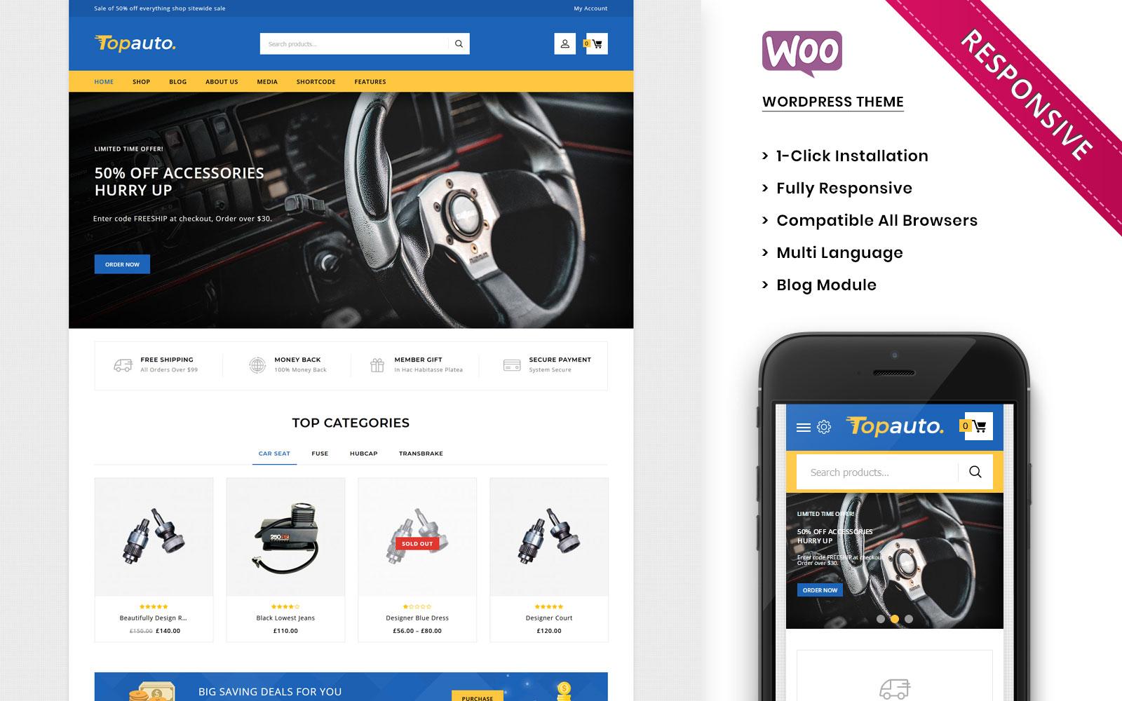 "Tema WooCommerce ""Topauto - The Autopart Responsive"" #100558"