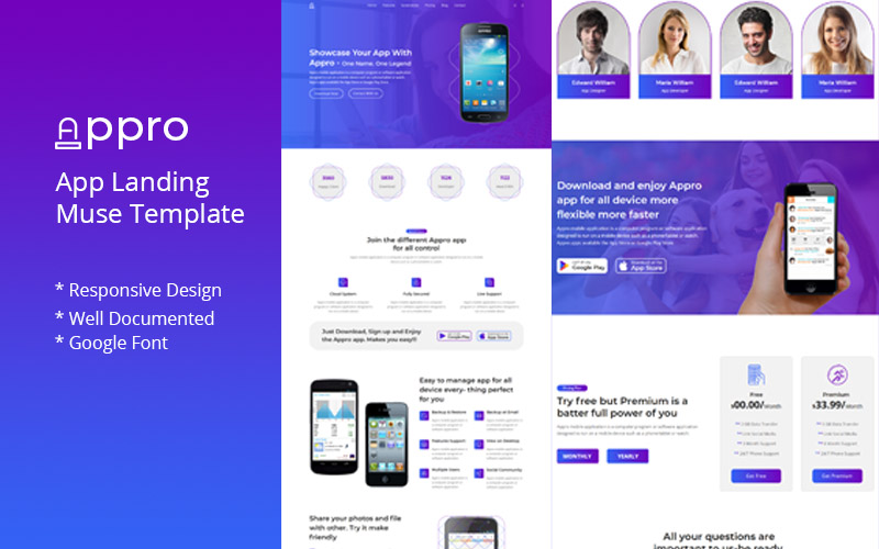 "Template Muse #100555 ""Appro-App Landing"""