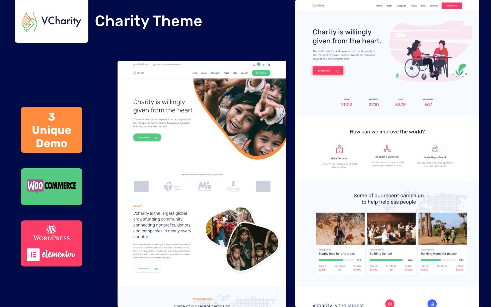 vCharity - Nonprofit Charity WordPress Theme