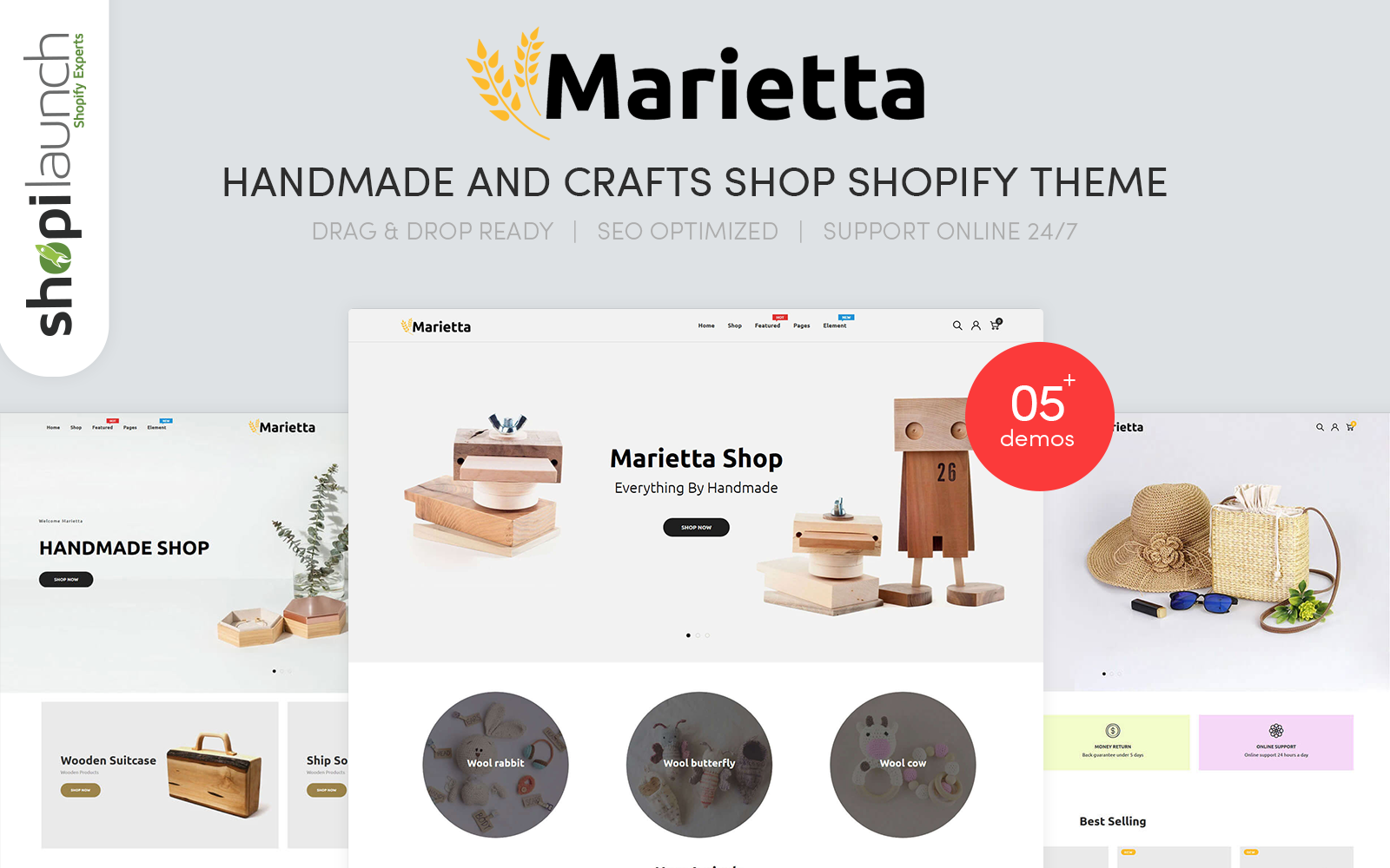 """Marietta - Handmade & Crafts"" Shopify Thema №100699"