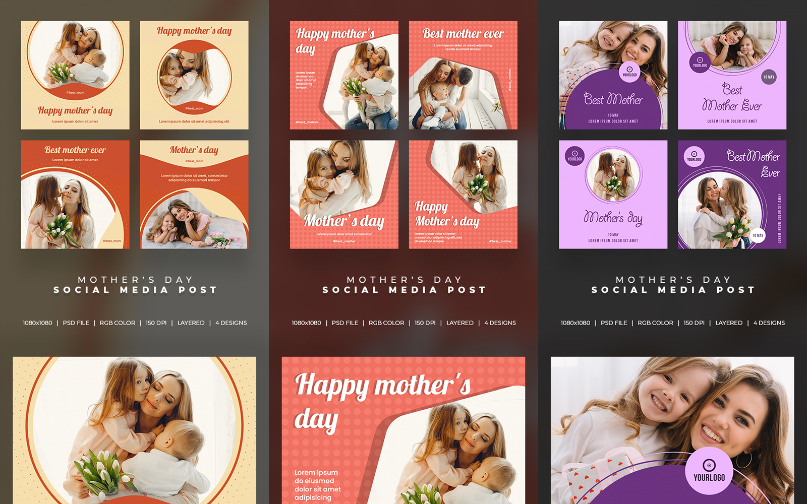 12 Post Mothers day Layout Set Social Media