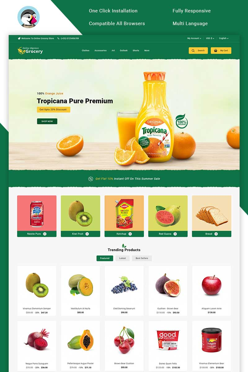 "PrestaShop Theme namens ""Online Bigstore Grocery"" #100697"