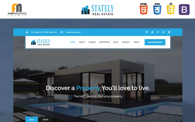 """""""Stately Real Estate HTML5"""" 响应式网页模板 #100696"""