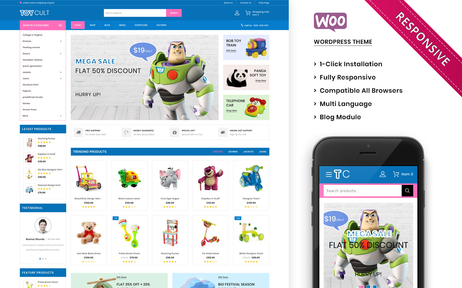 "WooCommerce Theme namens ""Toycult - The Kids Toy Store Premium"" #100698"