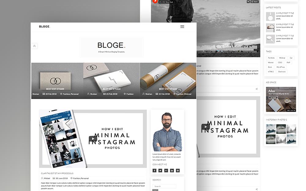 """BLOGE Minimal Blogging"" modèle web adaptatif #100743"