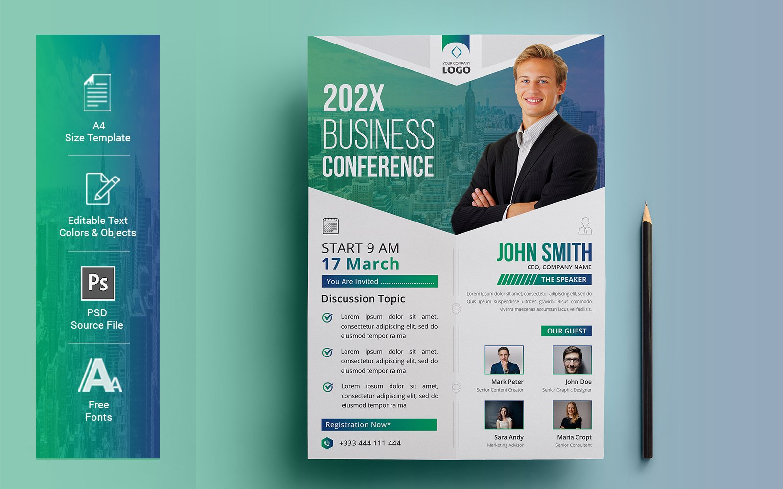 Business Conference Flyer Corporate Identity Template