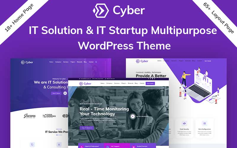 """Cyber - IT Solutions & IT Startup"" Responsive WordPress thema №100700"