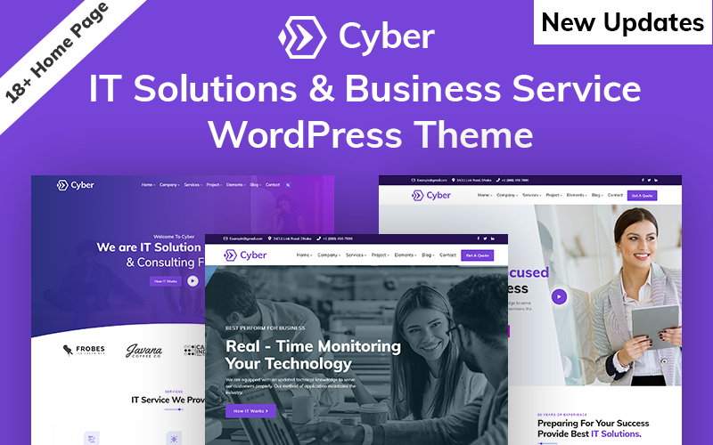 """Cyber - IT Solutions & IT Startup"" Responsive WordPress thema №100700"