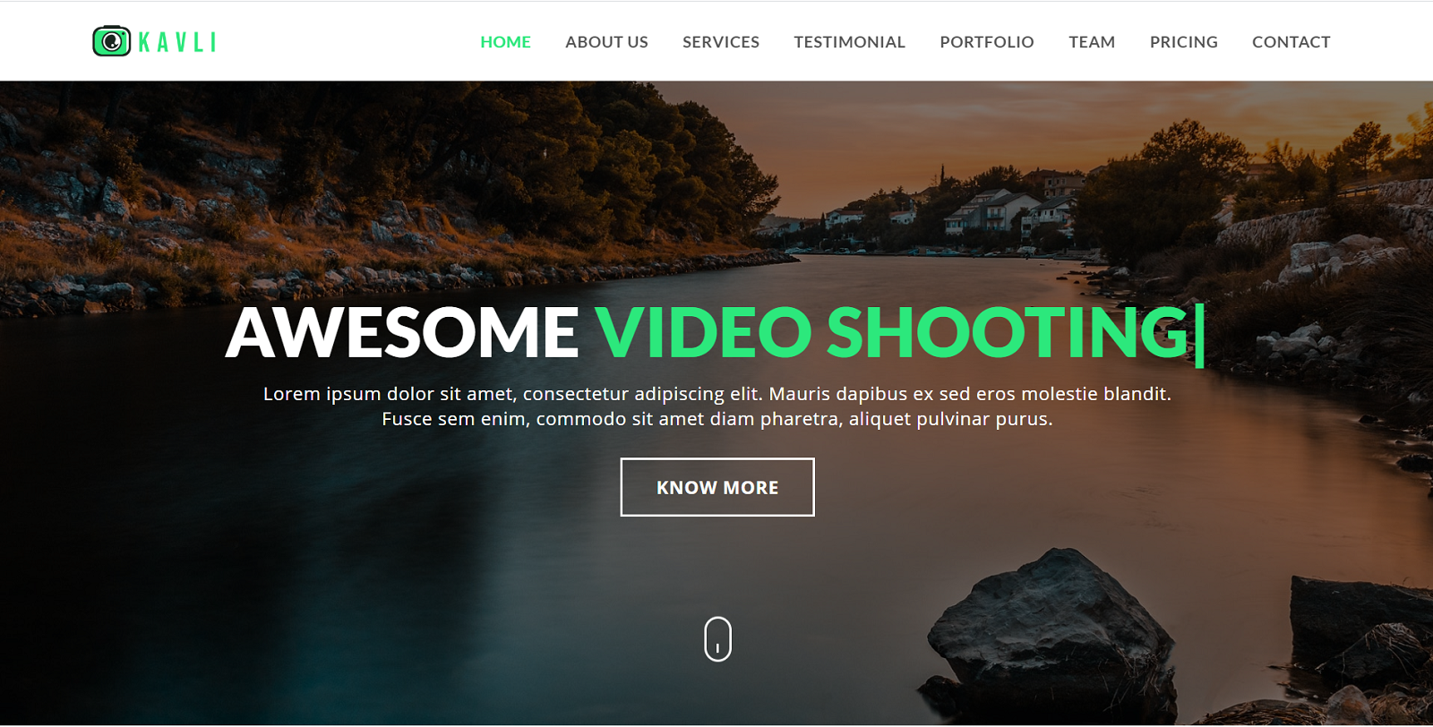 Kavli - Photography Landing Page Template
