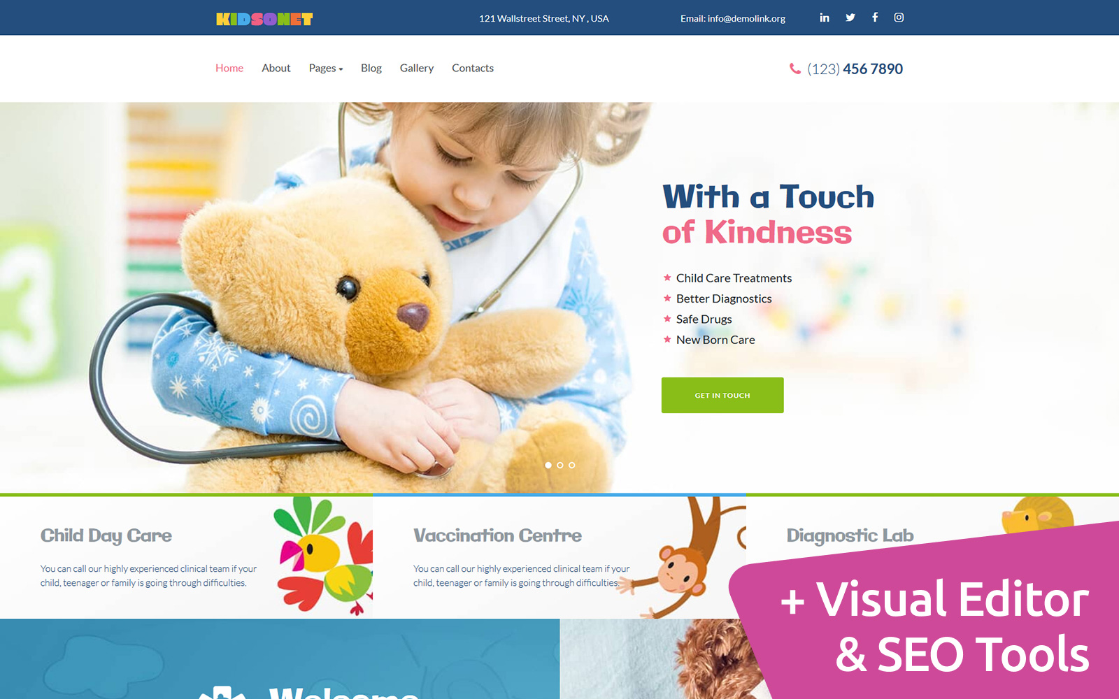 Kidsonet - Kids Medical Clinic Moto CMS 3 Template