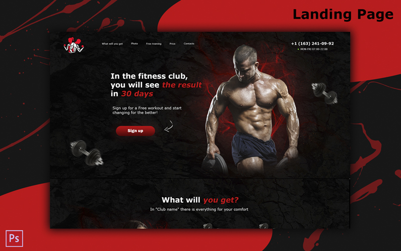 """Plantilla PSD """"Landing Page bodybuilding / Gym / A website for your business"""" #100742"""
