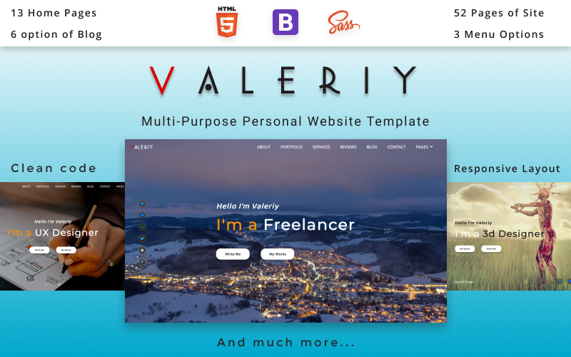 "Website Vorlage namens ""Valeriy 