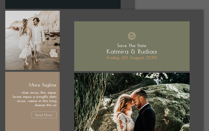 """Wedding - Responsive"" modèle Bulletin  #100735"