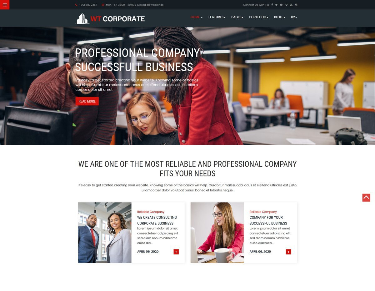 """WT Corporate Business"" 响应式Joomla模板 #100740"