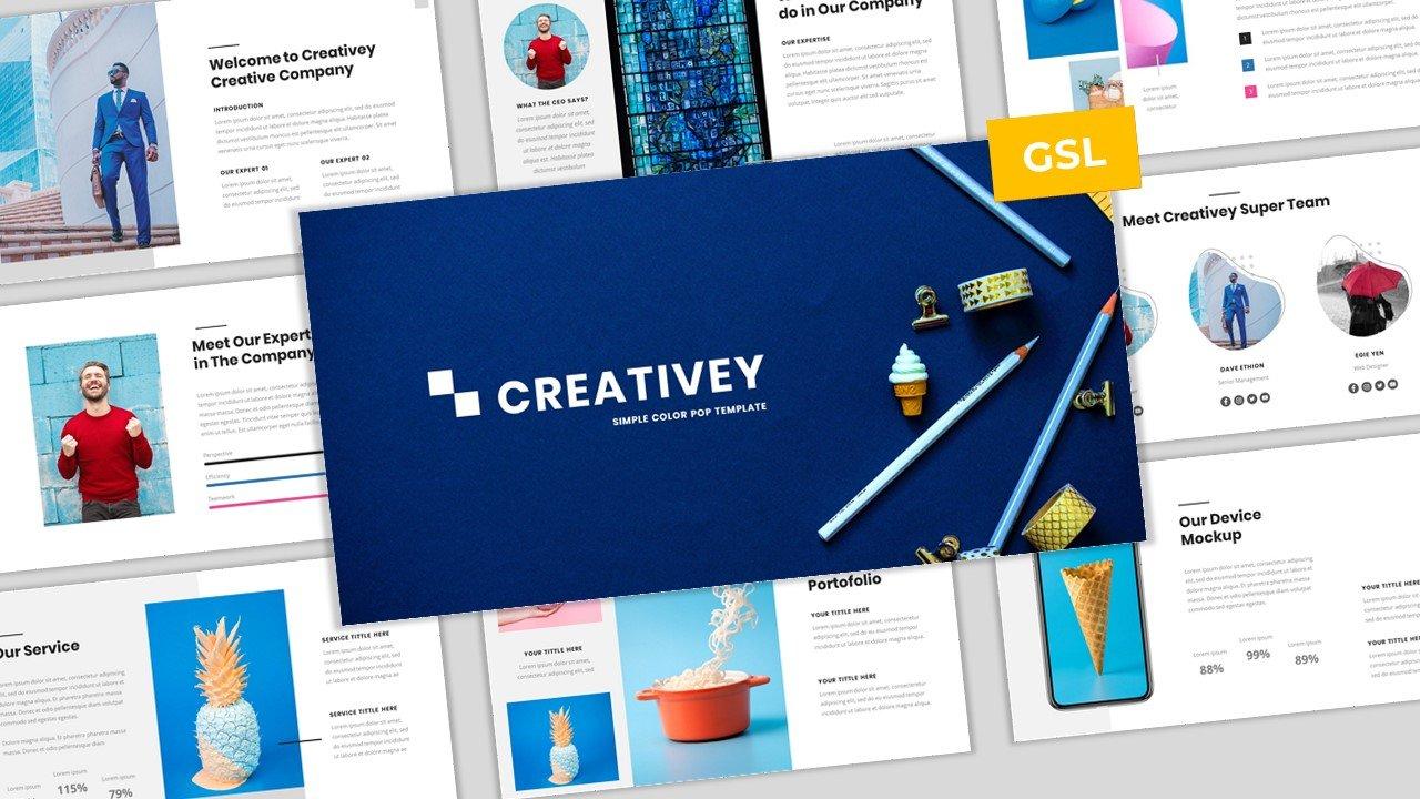 """Creativey - Simple Color Pop Business  Template Google Slides"" Google Slides №100901"