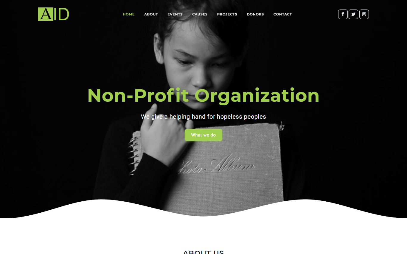 Aid HTML5 Child Charity Landing Page Template
