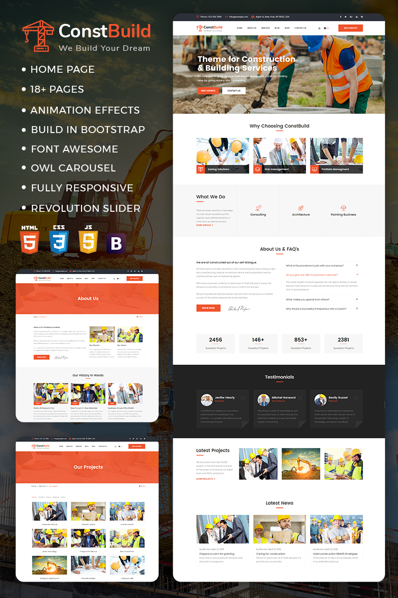 ConstBuild : Construction, Building & Renovation Website Template