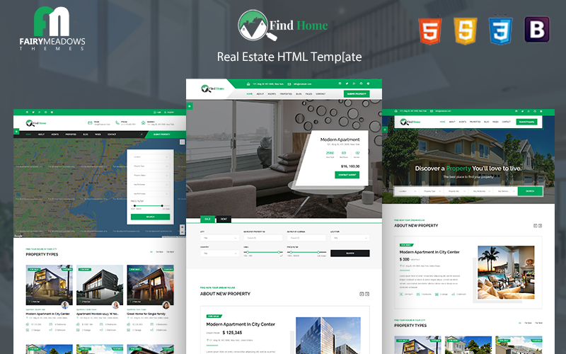 """""""Find Home - Real Estate HTML5"""" 响应式网页模板 #101097"""