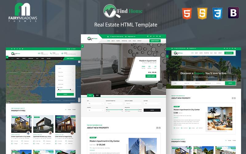 """Find Home - Real Estate"" Responsive Website template №101097"