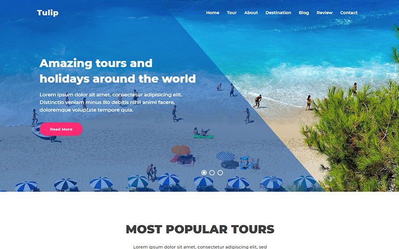 """Landing Page Template namens """"Tulip - Travel Agency"""" #101007"""