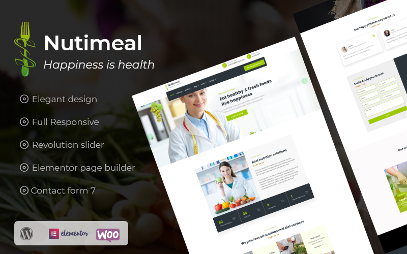 """Nutimeal - Nutrition & Diet Elementor"" Responsive WordPress thema №101012"