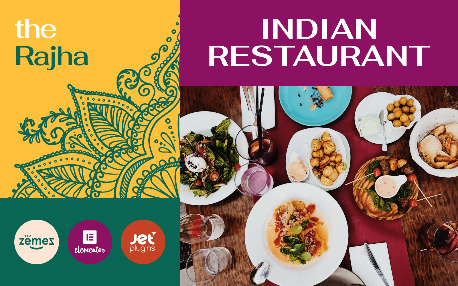 """Rajha - Indian Restaurant"" Responsive WordPress thema №101013"